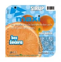 Etiketa - Maxi sirup naranča - Klariko voće