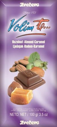 Oblikovna linija Volim te - punjena mliječna čokolada, lješnjak, badem, karamela, 100g